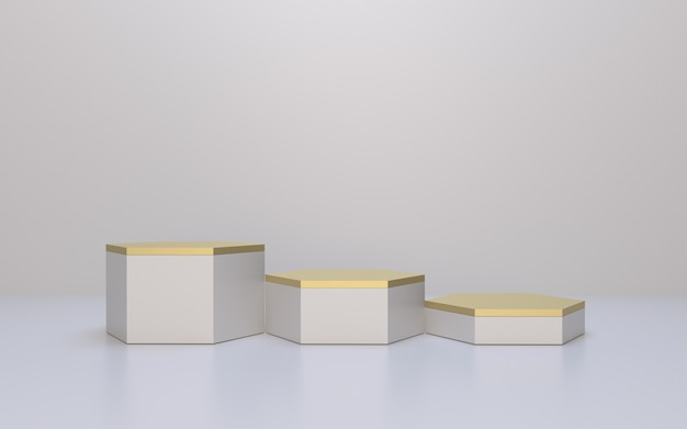 Display de produto hexagon podium com destaque em branco e dourado