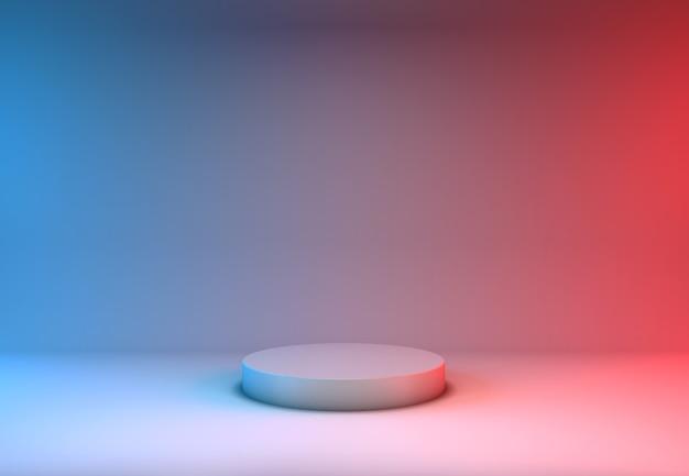 Display de produtos com renderização 3d em fundo azul e vermelho
