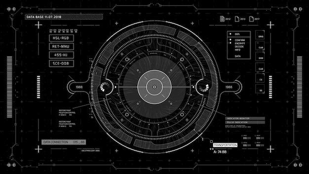 Display hud complexo com indicadores e sensores de alta tecnologia