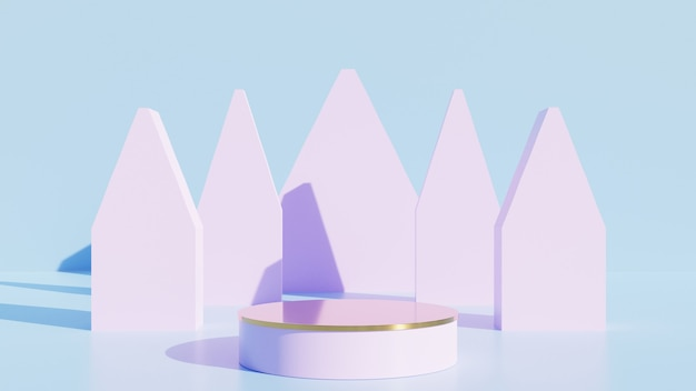 Display rosa ou pódio para mostrar produto e sala azul vazia.
