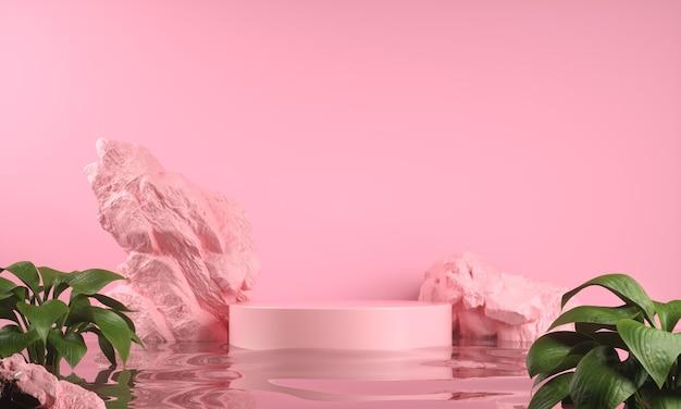 Display rosa para mostrar o produto na ondulação da água e fundo abstrato da rocha renderização em 3d
