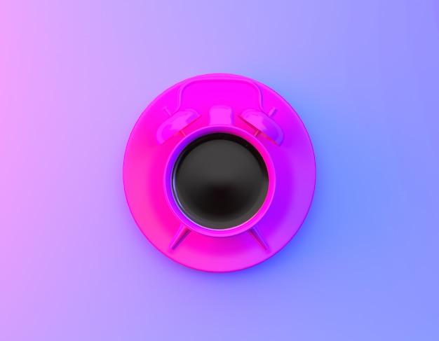 Disposição criativa do despertador do copo de café no fundo holográfico roxo e azul do inclinação corajoso vibrante das cores. conceito de tempo mínimo de café.