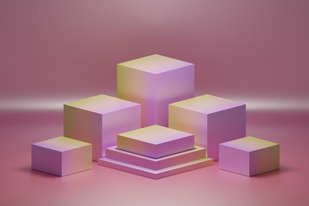 Disposição da cor dos pedestais dos cubos nas cores gradiente rosa e amarelo