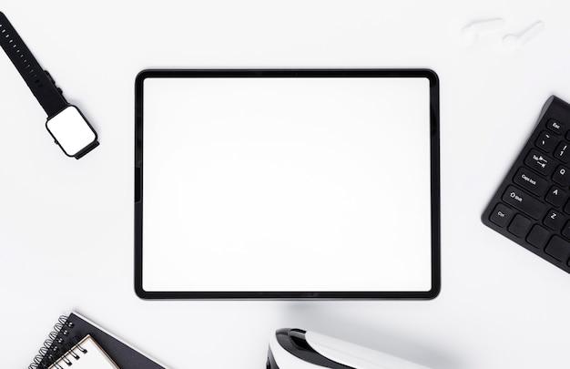 Disposição da vista superior com tablet