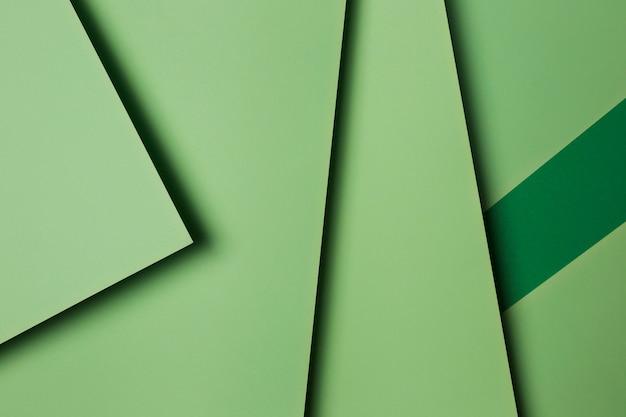 Disposição das folhas de papel verde