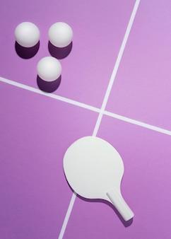 Disposição de bolas de badminton vista superior