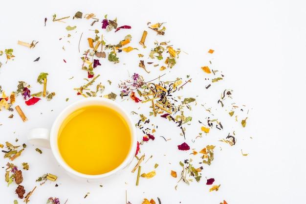 Disposição do copo do chá verde com variedade de folha de chá seca diferente no fundo branco, copie o espaço para o texto. ervas orgânicas, chá asiático verde para a cerimônia do chá.