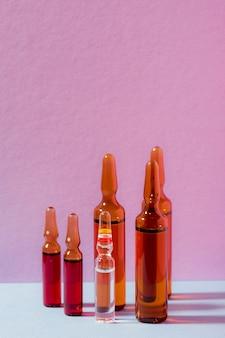 Disposição em frascos diferentes