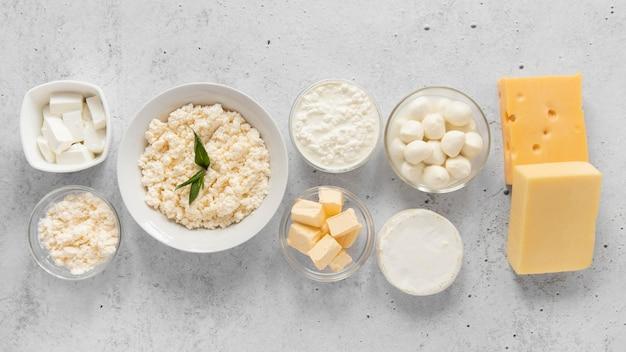 Disposição plana de produtos lácteos