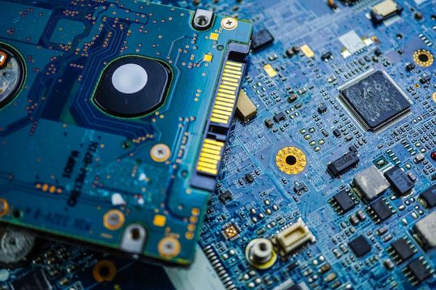 Dispositivo da eletrônica da placa principal do processador central do circuito de computador: conceito do hardware e da tecnologia.