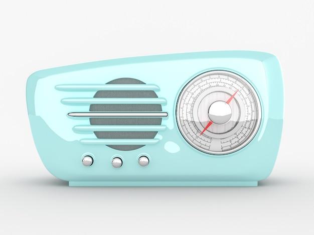 Dispositivo de rádio retrô em fundo branco. renderização 3d realista