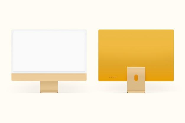 Dispositivo digital de tela de desktop de computador mínimo amarelo com espaço de design