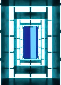 Dispositivo moderno com luz neon branca