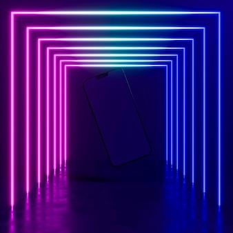 Dispositivo moderno com luz neon