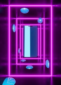 Dispositivo moderno em luz neon roxa