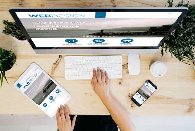 Dispositivos aéreos de design web responsivos
