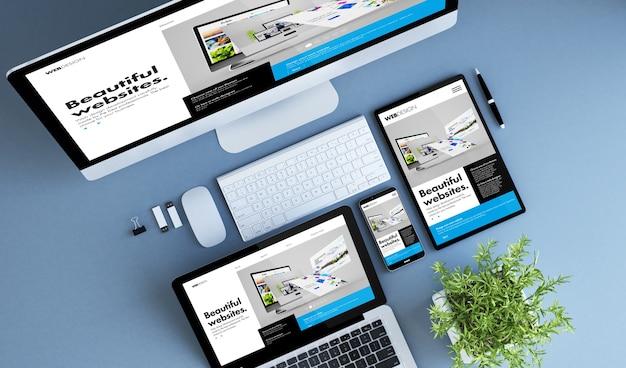 Dispositivos azuis vista superior do construtor de sites criativos renderização em 3d.