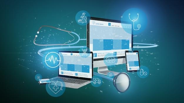Dispositivos com renderização médica ícone e estetoscópio 3d