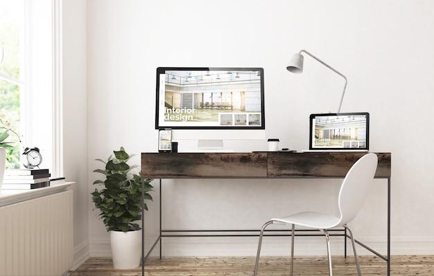Dispositivos de home office com renderização em 3d design de interiores responsivo