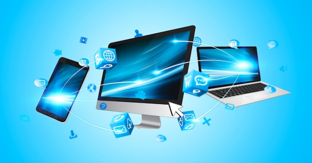 Dispositivos de tecnologia e aplicativos de ícones conectados uns aos outros