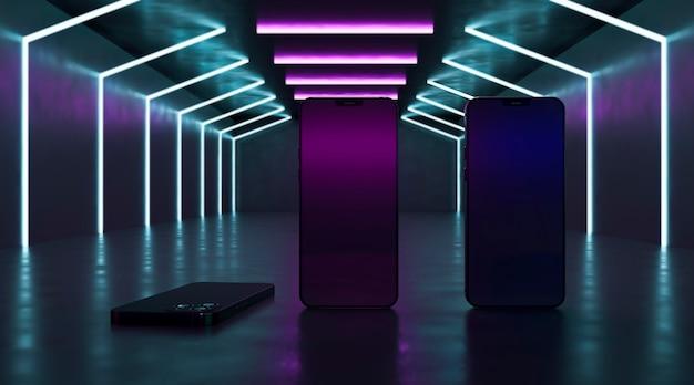 Dispositivos modernos com luzes de néon