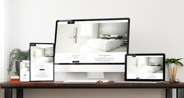 Dispositivos responsivos do site do hotel na vista frontal página inicial do site renderização em 3d