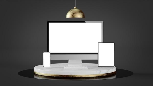 Dispositivos responsivos em mármore de luxo e renderização em 3d de plataforma de ouro
