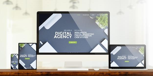 Dispositivos responsivos mostrando renderização em 3d do site digital da agência