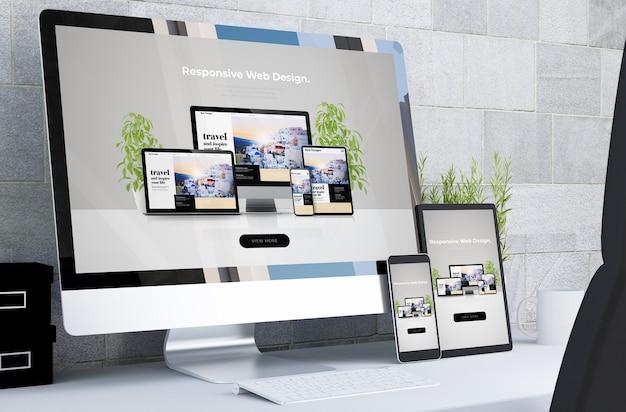 Dispositivos responsivos mostrando web design responsivo na renderização 3d de desktop