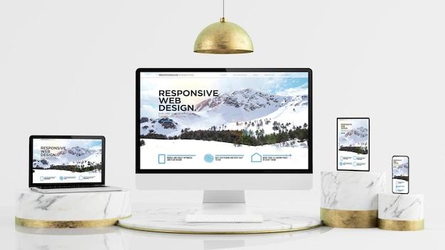 Dispositivos responsivos para apresentação de site simulado de renderização em 3d