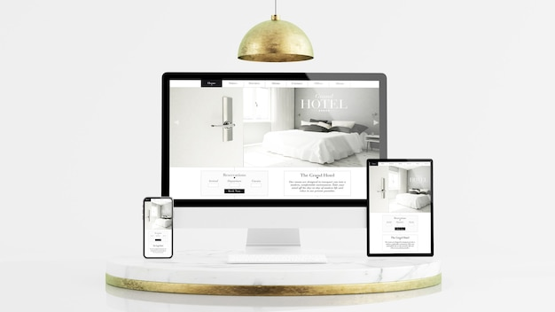 Dispositivos responsivos por tablet, telefone e computador em renderização 3d de maquete de plataforma de mármore e ouro