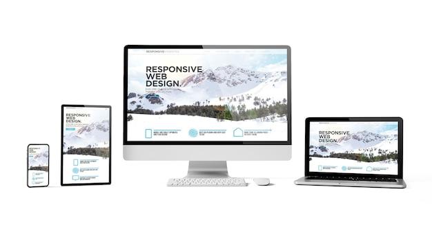 Dispositivos responsivos web design responsivo, maquete isolada da montanha, renderização em 3d