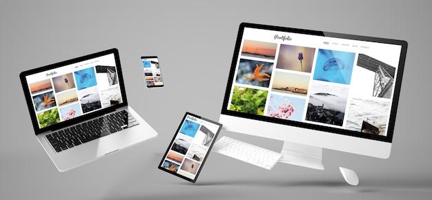 Dispositivos voadores com design responsivo do site do portfólio. renderização 3d