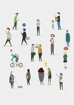 Distanciamento físico em ilustração de modelo social em área pública