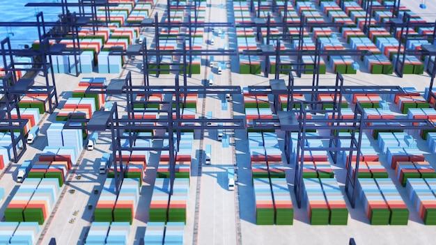 Distribuição de mercadorias do porto por contêineres de transporte contêineres de transporte de contêineres