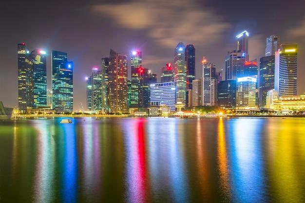 Distrito financeiro de singapura e edifícios comerciais