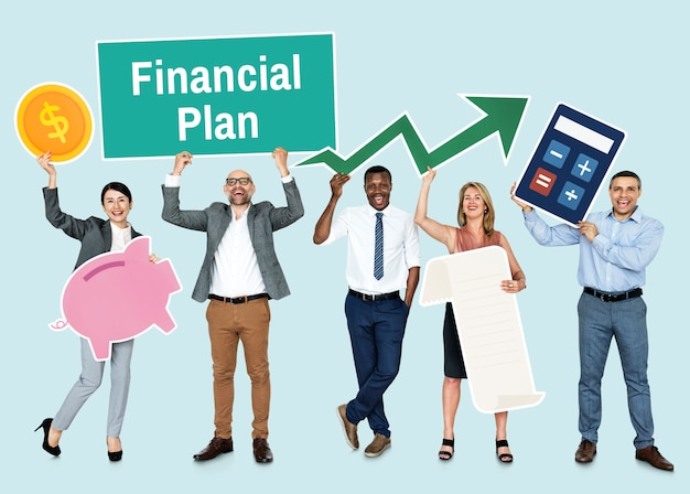 Diversas pessoas com ícones financeiros