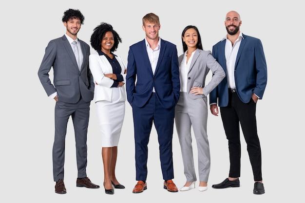 Diversidade de empresários confiantes e conceito de trabalho em equipe