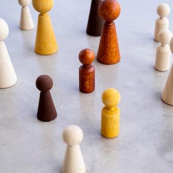 Diversidade de peças de xadrez