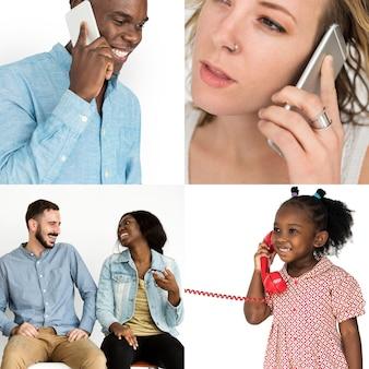 Diversidade pessoas usando dispositivos móveis comunicação studio isolado colagem