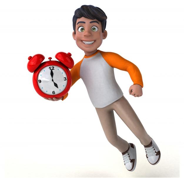 Divertido desenho animado 3d adolescente asiática com relógio vermelho