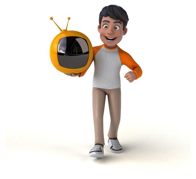 Divertido desenho animado 3d adolescente asiática com tv retrô