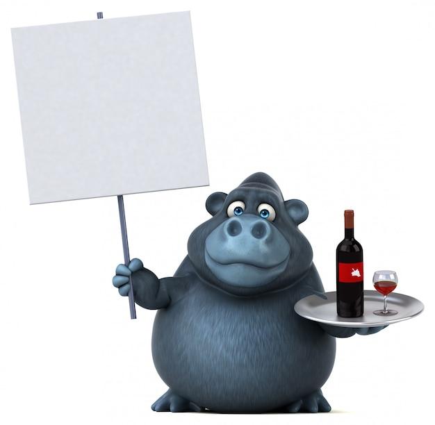 Divertido gorila - ilustração 3d