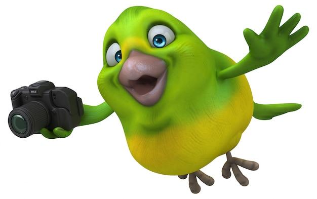 Divertido pássaro verde - ilustração 3d