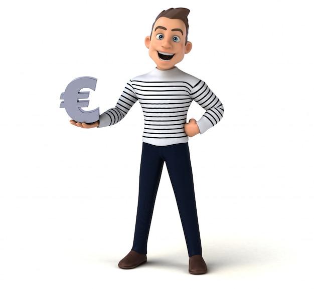 Divertido personagem casual de desenho animado 3d com sinal euro