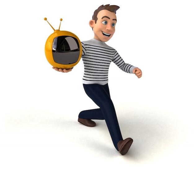 Divertido personagem casual de desenho animado em 3d com tv retrô