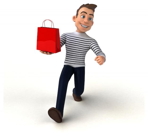 Divertido personagem casual de desenho animado em 3d