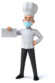 Divertido personagem de desenho animado chef com uma máscara