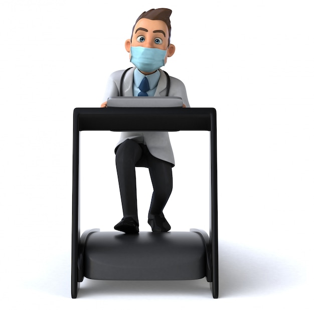 Divertido personagem de desenho animado médico com uma máscara