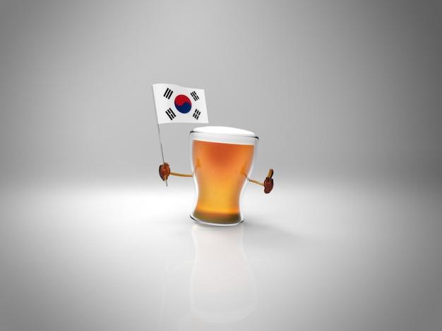 Divertido personagem ilustrado cerveja segurando a bandeira da coreia do sul